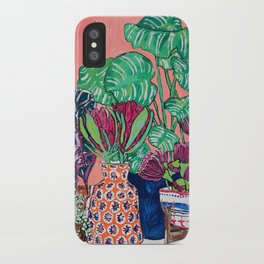 Cluster of Houseplants and Proteas on Pink Still Life Painting iPhone Case