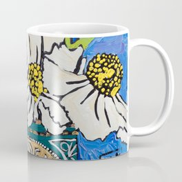 Matilija Fried Egg Flower Bouquet in Lyle's Golden Syrup Tin on Blue Gouache Still Life Painting Coffee Mug