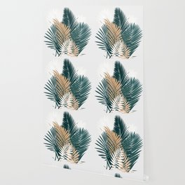 Gold and Green Palm Leaves Wallpaper