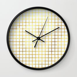 White & Gold Grid Wall Clock