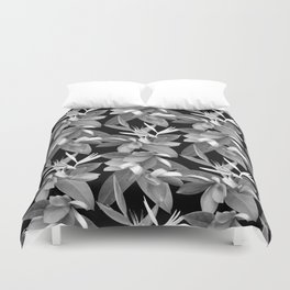 Mixed Paradise Tropicals in Black and White Duvet Cover