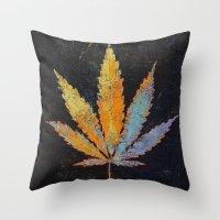 cannabis Throw Pillows featuring Cannabis by Michael Creese
