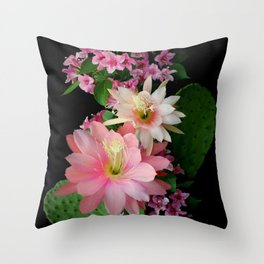 Cacti, Pink And Paler Throw Pillow