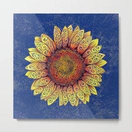 Swirly Sunflower Metal Print