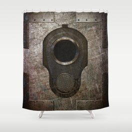 M1911 Colt 45 Muzzle On Rusted Riveted Metal Shower Curtain
