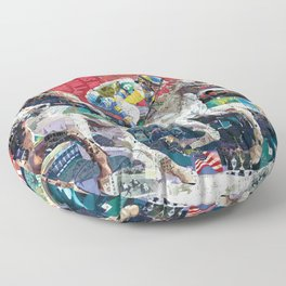 Abstract Race Horses Collage                                         Floor Pillow
