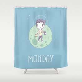 Space Monday Shower Curtain