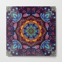 Boho Colorful Gypsy Mandala Metal Print