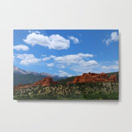 Garden Of Gods View With Kissing Camels Metal Print