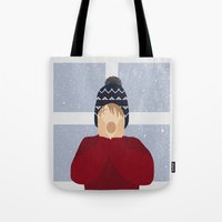 home alone Tote Bags featuring Home Alone by Robert Scheribel