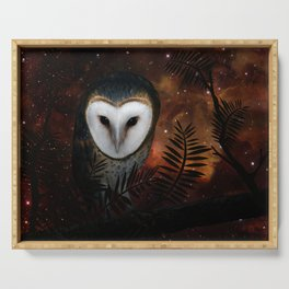 Barn owl at night Serving Tray