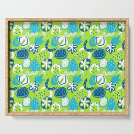 Brushstroke Abstracts - blue and green Serving Tray