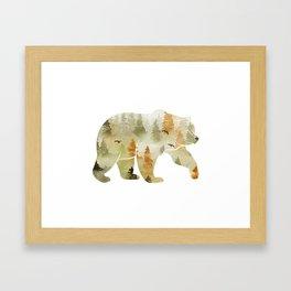 Autumn Forest Bear Silhouette Framed Art Print