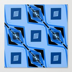 Black and Blue Diamond abstract Canvas Print