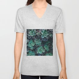 Succulent Blue Green Plants Unisex V-Neck