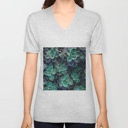 Succulent Blue Green Plants Unisex V-Neck