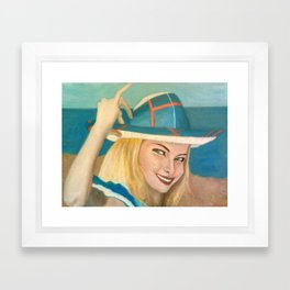 The Pretty Blonde Holds Her Hat Down On Her Head Framed Art Print