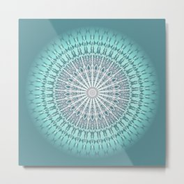 Teal Mandala Medallion Metal Print