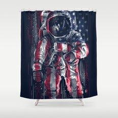 Astronaut Flag Shower Curtain