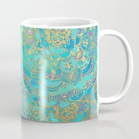 gold Mugs featuring Sapphire & Jade Stained Glass Mandalas by micklyn