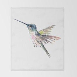 Flying Little Hummingbird Throw Blanket