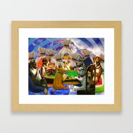 Poker Dogs From Space Framed Art Print