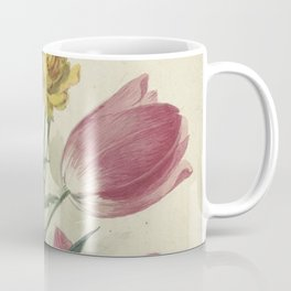 Willem van Leen - Bouquet of tulips, violets, blue grapes and dotters  - 1763/1825 Coffee Mug