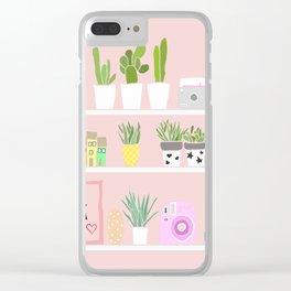 Cactus shelfie pink Clear iPhone Case