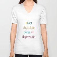 depression V-neck T-shirts featuring CHOCOLATE CURES DEPRESSION by SCT Shop