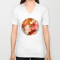 lily V-neck T-shirts featuring Lily by Jenny Lloyd Illustration