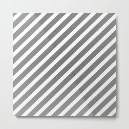 Grey Diagonal Stripes Metal Print