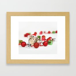 A Cute Cat Christmas Gift Box Ornaments Red Santa Hat Framed Art Print