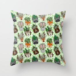 Woodland Wildflowers Animal Planters Throw Pillow