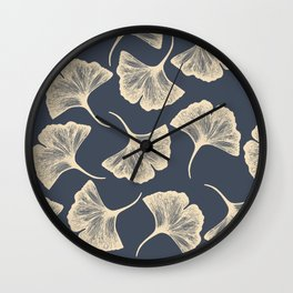 Ginkgo leaves / Elegant / Blue and gold Wall Clock