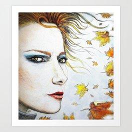 Autumn Freckles Portrait Art Print