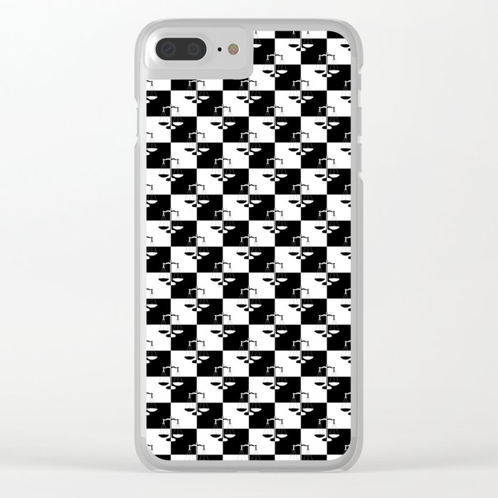 online store 48463 df954 Black and White Checkerboard Scales of Justice Legal Pattern Clear ...