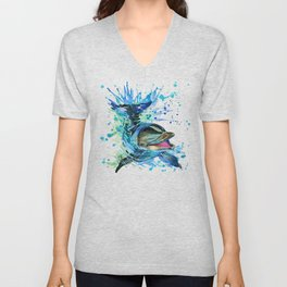Watercolor Dolphin Unisex V-Neck