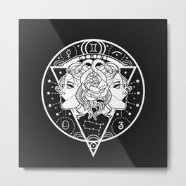 Gemini Twins Zodiac on Black Metal Print