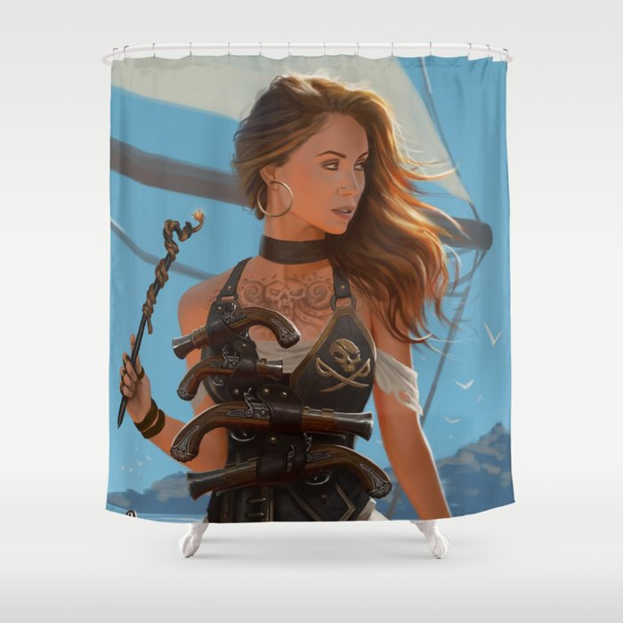 Franceska Drake The Black Powder Pirate Shower Curtain