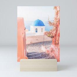 Santorini Greece Pink Old Street Travel photography Mini Art Print