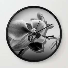 Orchid in Black and White A537 Wall Clock