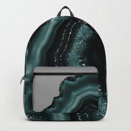 Teal Agate Black Glitter Glam #2 #gem #decor #art #society6 Backpack