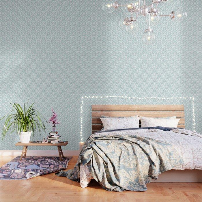 Flourish Damask Big Ptn White on Duck Egg Blue Wallpaper by nataliepaskell