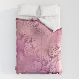 Iridescent Tropical Leaves in Pink and Pastels Comforters