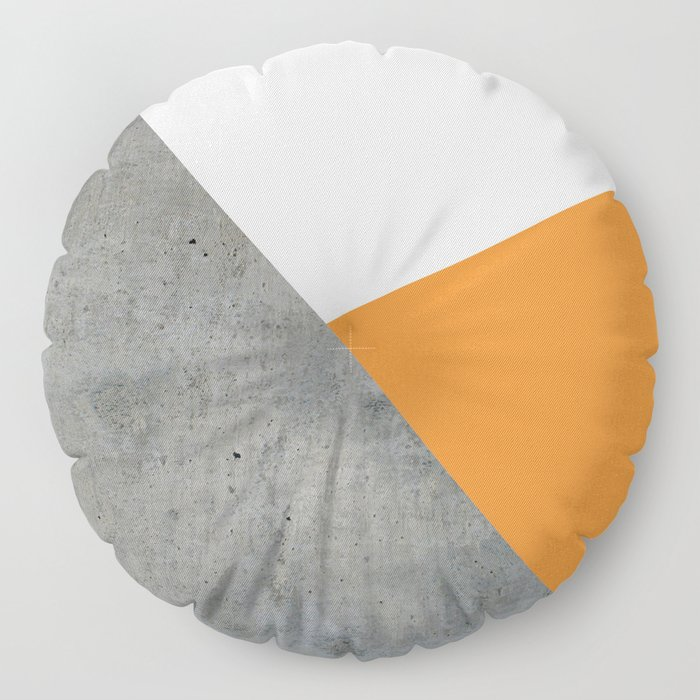 Concrete Tangerine White Floor Pillow