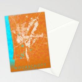 Nouakchott, Mauritania, Gold, Blue, City, Map Stationery Cards