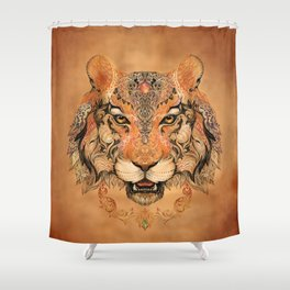Boho Tribal Tiger Shower Curtain