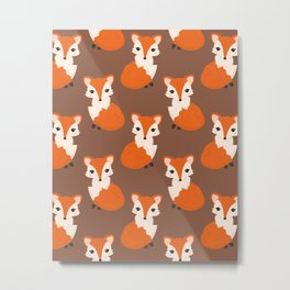 Cute Sitting Fox Illustration with Brown Background Metal Print