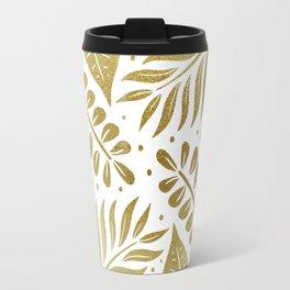 Tropical Leaves - Gold Metallic Travel Mug