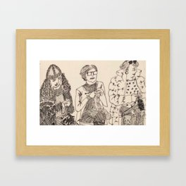 Three knitters Framed Art Print